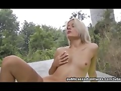 naughty golden-haired engulfing outdoors