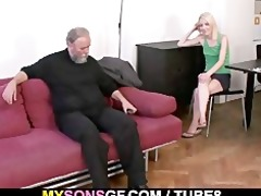 old daddy forces his sons gf suck his penis