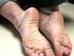 old woman showing her feet