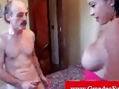 instatible lalin girl grabbing old dude pecker