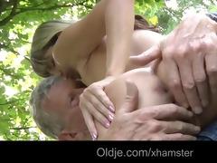 oldman copulates a juvenile and naughty cutie