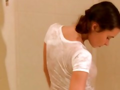 youthful brunette hair in the shower