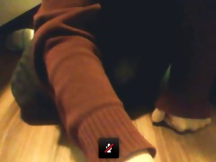 63 year-old angel shows boots and socks. plays