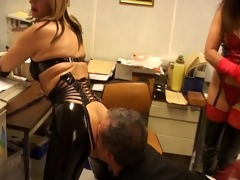 sexy leather moms mock chastise old lad