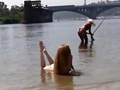 look at this skinny russian nudist getting a tan