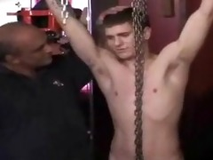 young str cock is hung bare from ceiling and