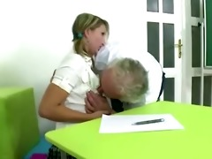 blond czech student passes exam being drilled by