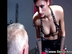 juvenile femdom-goddess whips her patients into