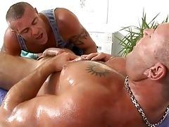 massaging young hard cock