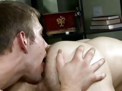 youthful golden-haired college chap licks his