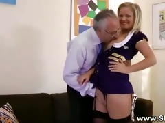 sexy chic blond engulfing old schlong for this