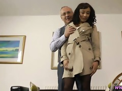 ebony non-professional in nylons drilled