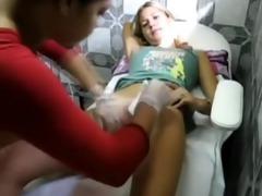 young gal getting brazilian wax