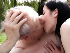 white oldman copulates brunette hair legal age