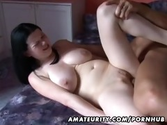 busty dilettante girlfriend anal act with