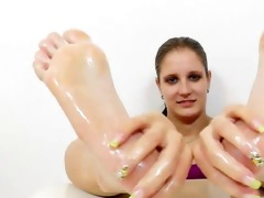 footjob from a juvenile dark brown