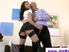 mature chap copulates younger fishnet playgirl