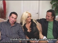 cougar wife bonks youthful man as hubby watches