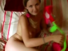 young legal age teenager in petticoat masturbates
