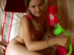 young legal age teenager in petticoat masturbates