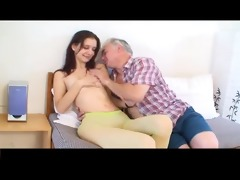 small tittted cutie receives drilled by aged chap