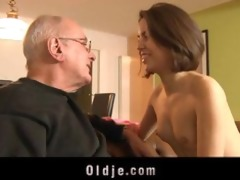 sexually excited beauty engulfing old pecker