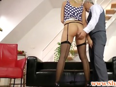 young british chick jerks old sirs dick