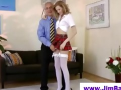 blond masturbating in advance of old dude