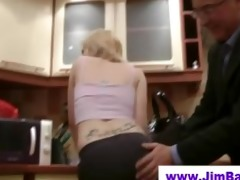 blonde does striptease for old dude