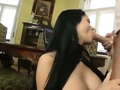 juvenile breasty wench giving a footjob