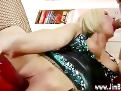 blond in nylons acquires off with sex tool