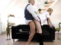 blond schoolgirl ravishing his old nob