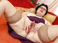 old gran with glasses fingering haired twat