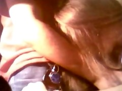 dark brown teen girlfriend blowjob at desk