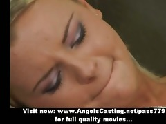 hot young golden-haired does blowjob and acquires
