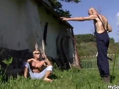 old stud pleases his sons cheating gf outdoors