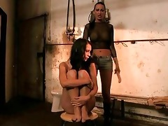horrid dominant-bitch punishing young slavegirl