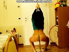 topless angel shows wazoo pole dance