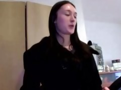 sexually excited chick in suit then masturbates
