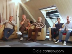 six oldmen group sex youthful golden-haired