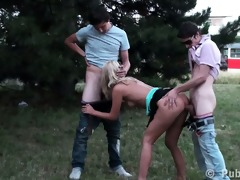 youthful gal public legal age teenager team fuck