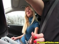 hitchhiking blond toying with cock