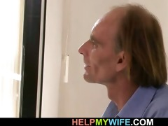 old husband watches his youthful wife takes large