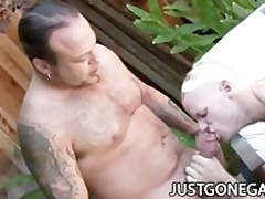 pool lad bonks his boss outdoors