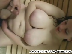 breasty bulky non-professional angel sucks and