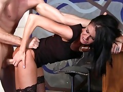 juvenile brunette hair in nylons acquires screwed