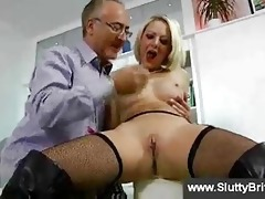 sexually excited golden-haired in nylons and old